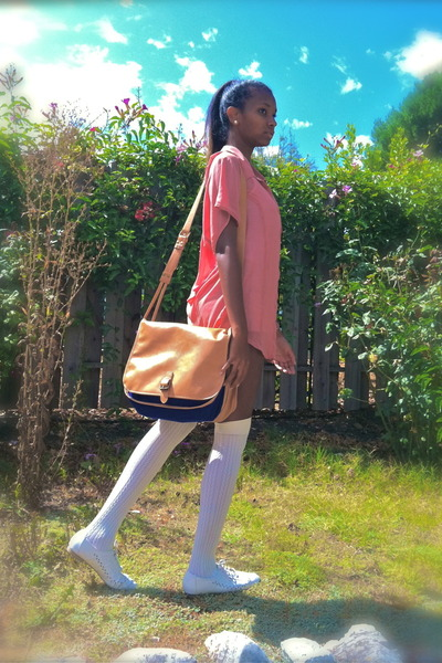 white shorts - off white shoes - bag - off white socks - pink blouse