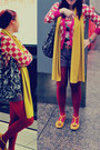 Maroon-retro-jacket-mustard-zara-scarf-black-betsey-johnson-bag