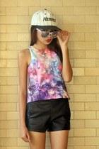giant vintage glasses - hat - faux leather romwe shorts - galaxy romwe vest