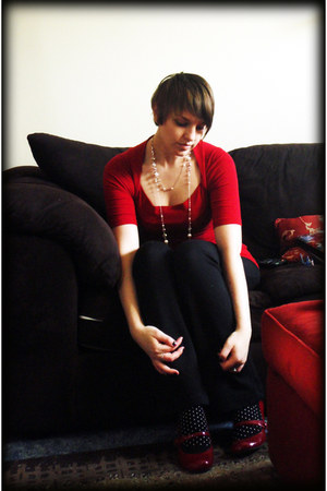 white polka dot socks - red shirt - black pants - ivory necklace - red heels