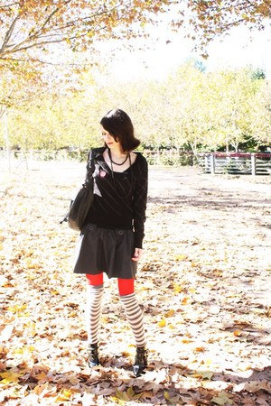 striped sweater H&amp;M sweater - red ankle boots asos boots