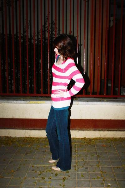 hot pink Forever21 sweater - navy Forever21 jeans - eggshell next heels