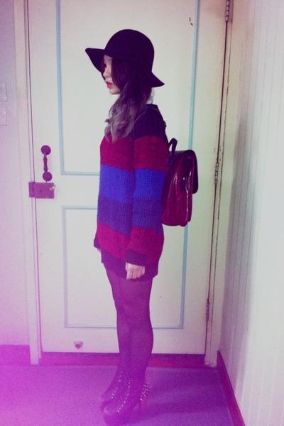 black vintage hat hat - brick red oldschool Bag bag - brick red oversize Ops top