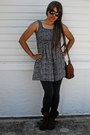 Brown-leathersuede-report-boots-black-ocean-pacific-dress