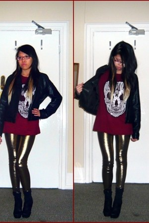 gold Maple leggings - black Maple coat - maroon raw top - black new look wedges
