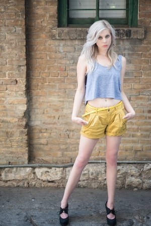 mustard darted Forever 21 shorts - periwinkle crop top Forever 21 top