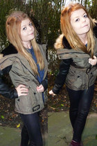 army green Primark coat - black Topshop leggings - blue Topshop top