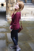 brick red H&M jumper - dark brown River Island boots - black Topshop leggings