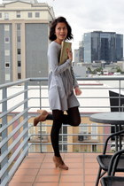 burnt orange Steve Madden boots - silver unknown brand dress - black H&M tights