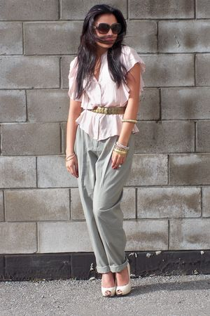 pink Forever 21 blouse - green H&M pants - white Aldo shoes
