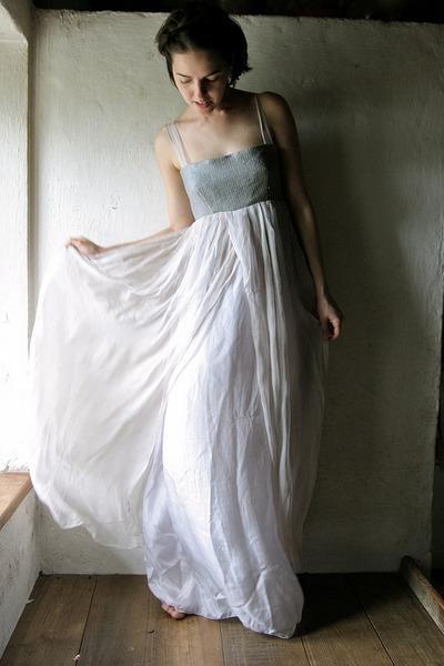 off white hand sewn silk Larimeloom dress