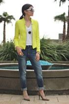 yellow neon blazer Zara blazer - blue boyfriend jeans Gap jeans