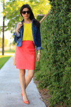 yellow yellow top Zara shirt - blue jean jacket Zara jacket