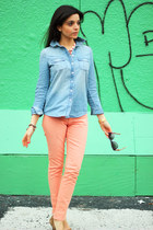 salmon dl1961 jeans - light blue chambray shirt JCrew shirt