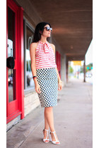 navy polka dot skirt Jcrew skirt - red striped blouse Jcrew blouse