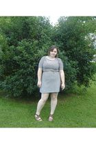 blue Old Navy dress - brown Wet Seal shoes - brown belt - brown thrifted purse -