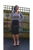 leather warehouse skirt - suede pumpkin Office heels - stripes Primark top