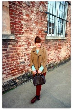 Topshop coat - JCrew sweater - Louis Vuitton bag - Frye heels - JCrew pants