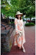 vintage dress - Anthropologie hat - American Apparel bag