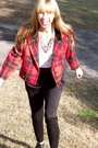 Red-vintage-jacket-black-urban-outfitters-pants-black-dolce-vita-shoes-whi