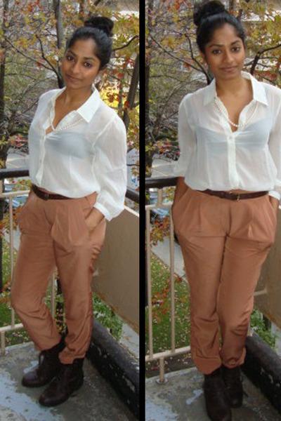 pants - boots - bra - blouse - belt - necklace