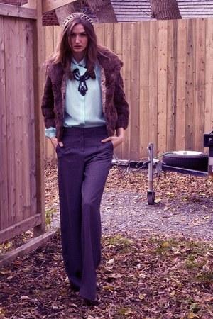 charcoal gray Bedo pants - aquamarine vintage blouse - brown vintage coat