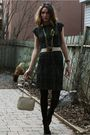 Black-calvin-klein-dress-beige-halston-belt-green-diy-necklace