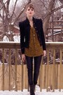 Black-pink-tartan-blazer-black-zara-pants-orange-zara-blouse-black-aldo-bo