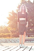 silver Alexander Wang shoes - black asos top - black vintage skirt