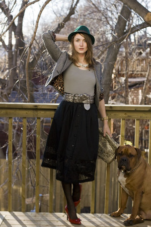 ruby red sam edelman shoes - black vintage skirt - green Urban Outfitters hat