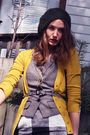 Beige-michael-kors-shoes-black-club-monaco-skirt-yellow-smart-set-cardigan-