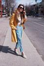 Mustard-escada-coat-sky-blue-vintage-pants-white-club-monaco-blouse