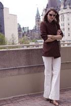 white Club Monaco jeans - crimson Jean-Paul Gaultier blazer