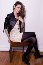 black Zara boots - cream lustre dress - black Sandra Angelozzi jacket - gold Fra