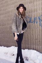 black Zara boots - silver vintage coat - black BCBG pants