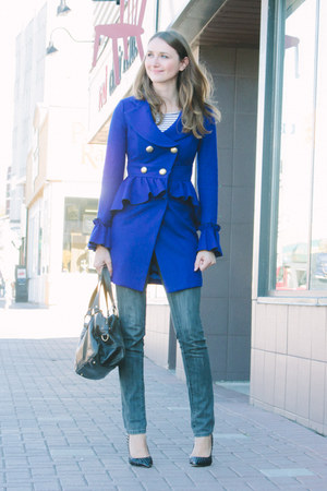 blue romwe coat - black truth or dare shoes