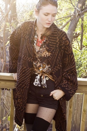 dark brown vintage blouse - dark brown vintage sweater - black wilfred shorts