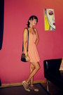 Salmon-lulus-dress-black-nasty-gal-bag-neutral-zara-sandals