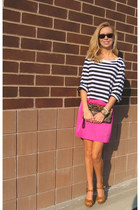 brown Target sandals - hot pink sears dress - linea pelle bag
