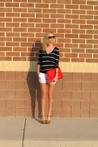 Target sandals - Forever 21 sweater - volcom bag - delias shorts