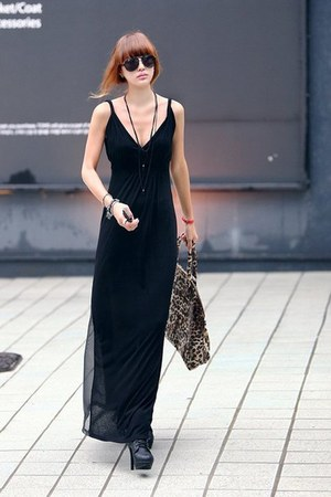 black sheer black Alexander Wang dress - dark gray Dolce Vita shoes