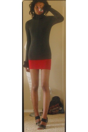 American Apparel dress - Q&A top - awesome prada knockoffs shoes