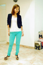 Forever21 pants - H&M blazer - H&M top - Vincci wedges - H&M bracelet