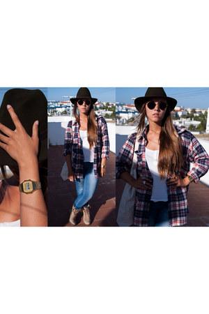 Zara boots - Zara jeans - Market hat - fisherman shirt Market shirt - Primark ba