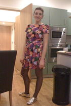 purple Primark dress - gold Primark shoes - black Primark tights
