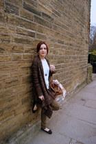 vintage scarf - Topshop bag - tesco cardigan - Matalan pants - Topshop blouse -