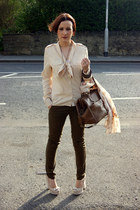 vintage scarf - Topshop bag - Garage shoes heels - Matalan pants - asos blouse