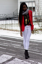 black Bakers boots - red thrifted vintage blazer - heather gray pashmina scarf