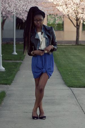 leather H&M jacket - denim moto Tobi jacket - chiffon knotted skirt