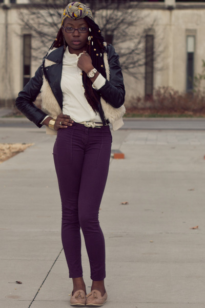 black leather H&M jacket - african scarf - eggshell faux fur H&M vest